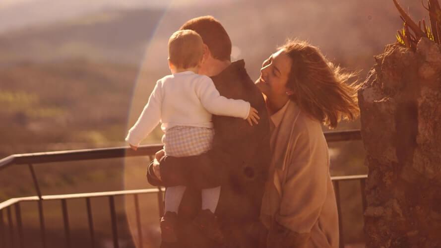 Famille, heureux, bonheur, soleil