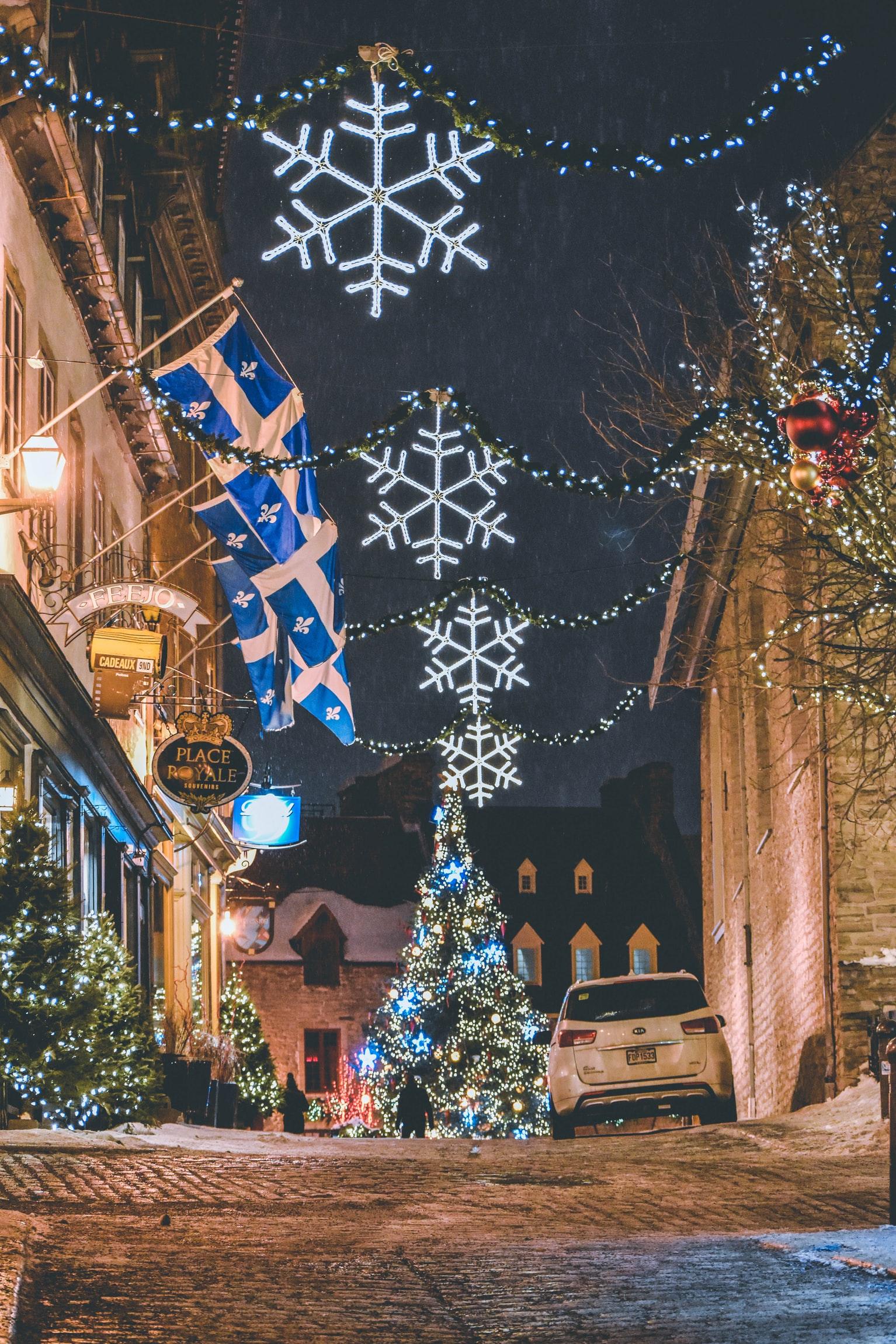 ville, québec, drapeau, hiver, décorations, ruelle