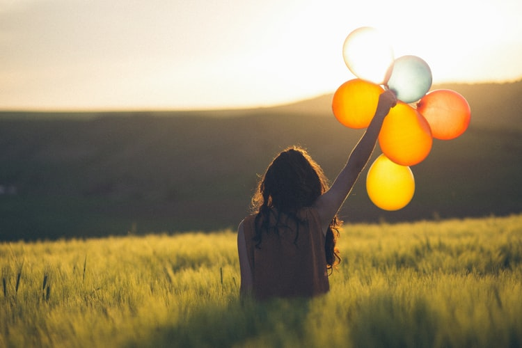 fille, baloon, champs