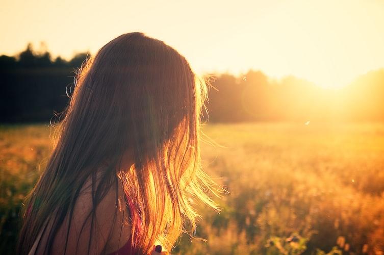 soleil, femme, nature