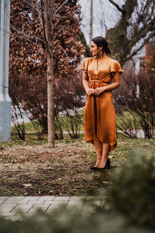 camille dg robe orange soie