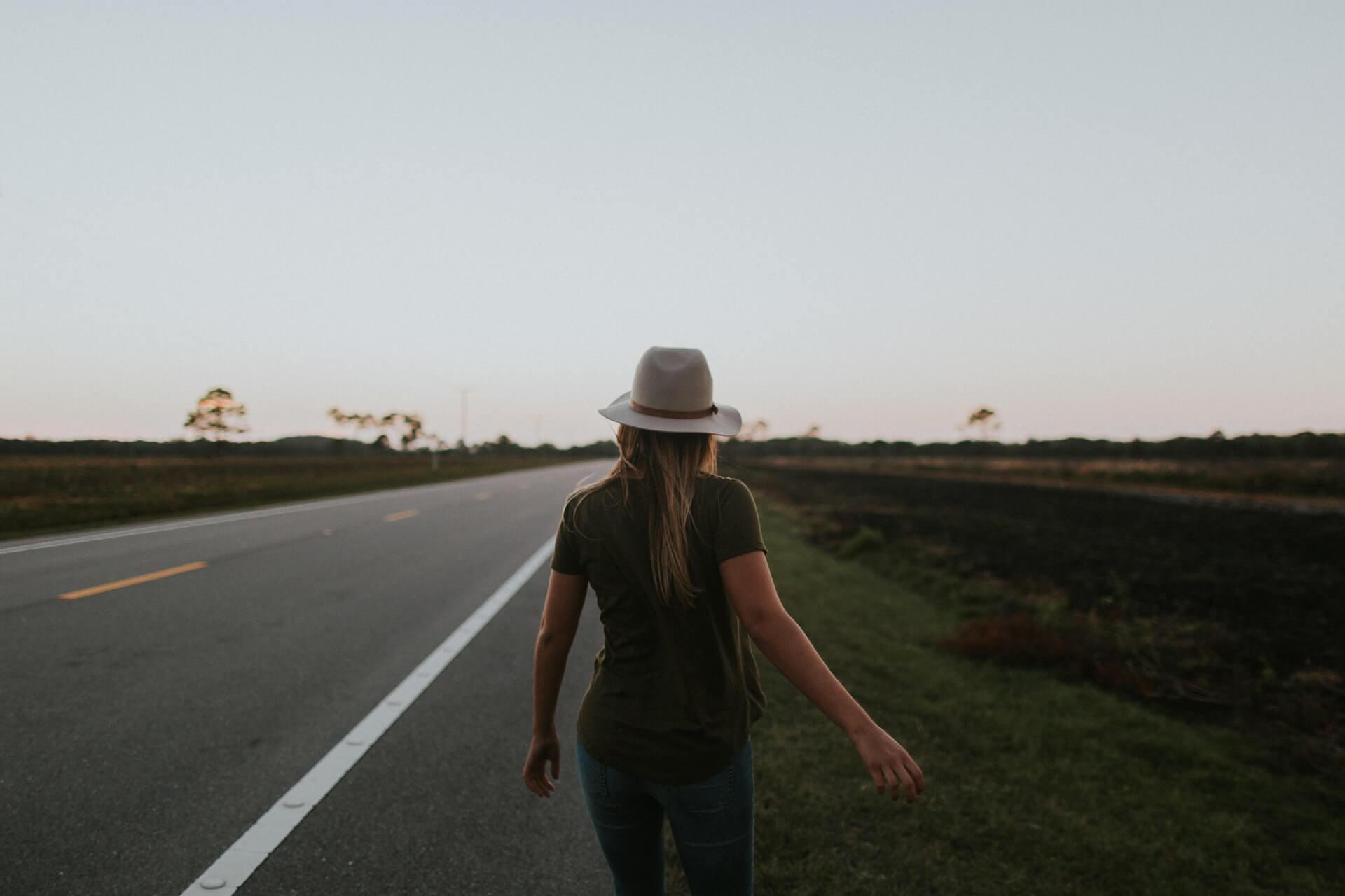 partir, chemin, route, femme