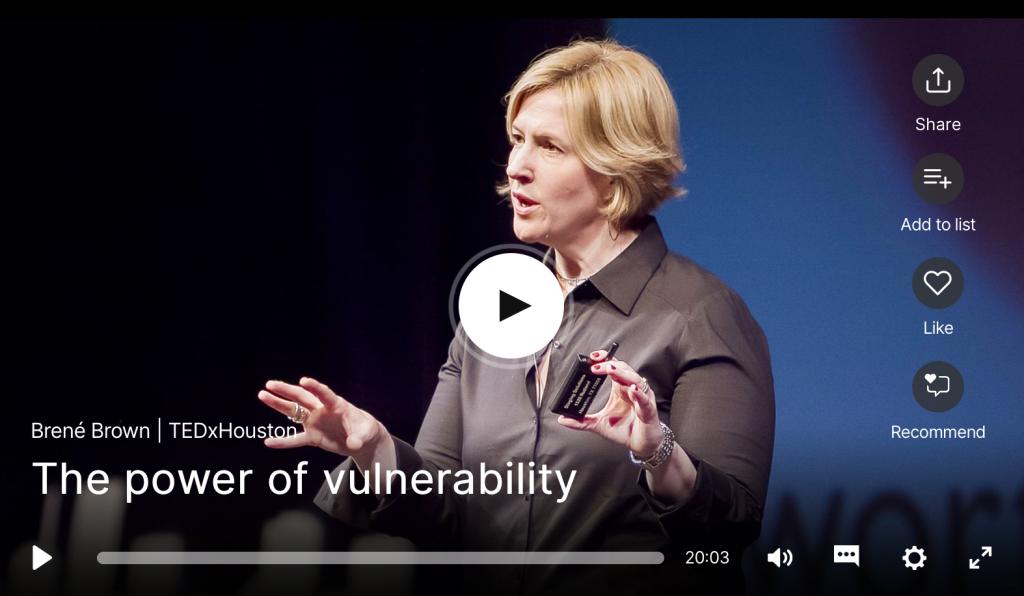 TED Talk vulnérabilité amour