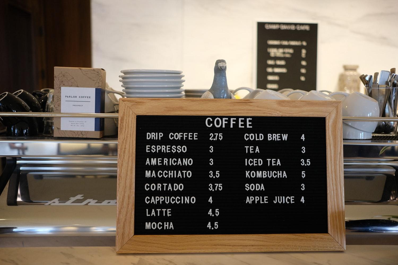 menu café